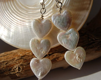 Freshwater pearl hearts and sterling silver earrings
