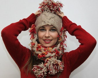 Made to Order: Funky Cheerful Wool Winter Hat RAPUNZEL, big pom-pom, bi-colored with long tresses, hand knit hat, knitted hat by Solandia