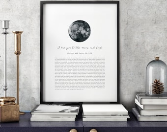 Wedding Vows Valentine's Day Gift Keepsake Print for Newlyweds & Anniversaries - I Love You to the Moon