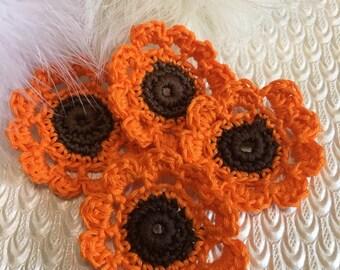 Crochet Flowers, Cotton, Crochet Appliqué, Set of 4, Orange and brown,