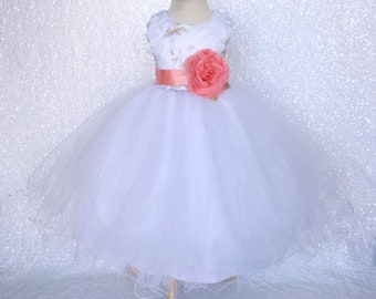 Easter Vintage Chic White Holiday Dress Silver Embroidery Coral Flower Girl Bridesmaid Graduation Birthday Party Recital Junior Baby Summer
