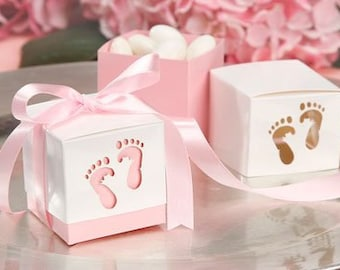 Baby Shower Favor Boxes - Baby Feet Pink Favor Boxes - It is a GIRL - Gender reveal - 1st birthday - cupcake boxes - 10 boxes