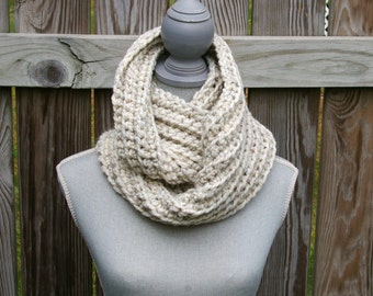 Crochet Infinity Scarf Circle Scarf in Wheat Wool Blend