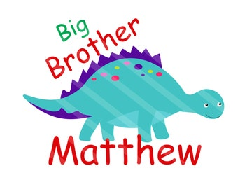 Big Brother Dinosaur Digital Download Personalized for iron-ons, heat transfer, Scrapbooking, Cards, Tags, DIY YOU PRINT