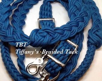 Blue barrel reins, custom reins, paracord reins, braided reins, knotted barrel reins, reins, horse tack