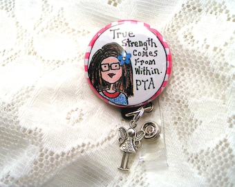 Button badge pull for physical therapy assistant,badge reel with guardian angel charm for PTA,pink and blue badge holder PTA