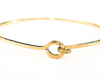 Gold Knotted Bangle Bracelet, Stacking Bangle, Textured, Handmade