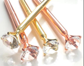 Diamond Pen, Rose Gold Pen, Gold Pen, Gem Pen, Diamond Top Gem Pen, Crystal Gem Pen, Planner Pen, Journal Pen, Ink Pen, Bridesmaid Gift.