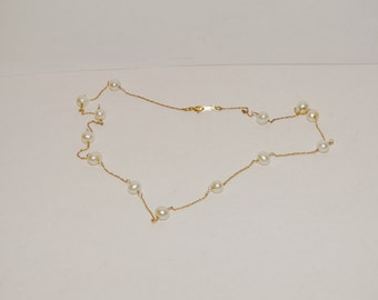 14K Pearl Station Necklace.