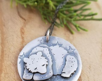Sleeping Grizzly Bear Necklace, Sterling Silver Animal Jewelry, Folk Jewelry, Birthstone Pendant, Rustic Silver Necklace,Made to Order