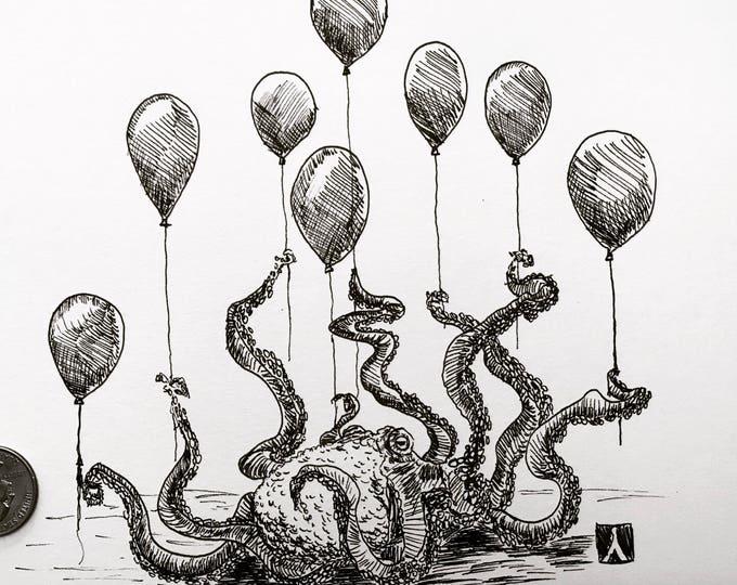 KillerBeeMoto: Print of Original Pen Drawing of an Octopus With Balloons