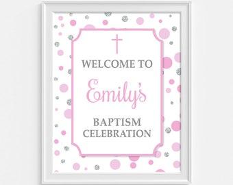 Baptism Welcome Sign, Personalized Baptism Celebration Sign, Pink & Silver Dots, DIY PRINTABLE
