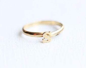 Gold Initial Band Ring