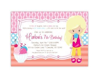 Personalized Ice Cream Invitation - Pink Dots Coral Stripe, Ice Cream Party, Kids Ice Cream Birthday Party Invite - Digital Printable File
