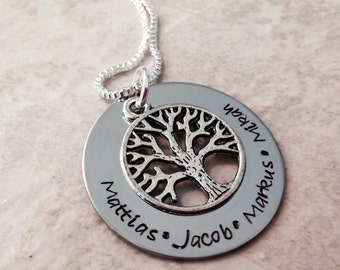 Sale!  Personalized necklace with names hand stamped jewelry mothers grandmothers necklace personalized jewelry family tree of life