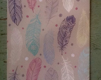 Feather Gift Wrapping Paper.  Magical Feathers Folded Wrapping Paper.  Gift Wrap (68X50cm)