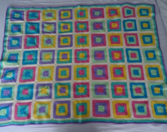 Solid Granny Square Crochet Blanket Throw