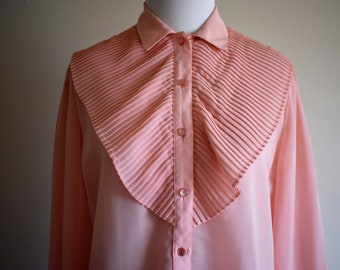 Pastel Pink Vintage Lightweight Women's Blouse | Size 10 Large | 1990's Lloyd Williams Casual Top