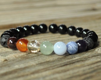 7 Chakra Diffuser Bracelet, Beaded Diffuser, Essential Oils, Oil Diffuser, Yoga Bracelet, Aromatherapy Bracelet, Essential Oil Diffuser