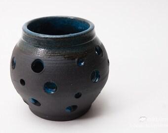 "3.5"" Handmade Wheel thrown Volcanic Black and Dark blue Votive Candle Holder. (Mordor Series)"
