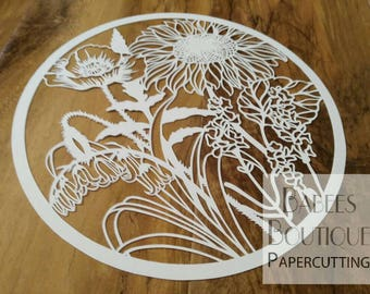 Full Bloom floral papercutting template   sunflower   Poppy   Lavender   Bluebell   Babees Boutique Papercutting   Personal & commercial use