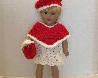Doll Clothes Made To Fit American Girl Dolls 3 Piece Crochet Poncho, purse and beret, Set fits all 18 Inch dolls, Christmas red, white trim