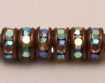 Bead, Rhinestone Rondelle Spacer Copper Crystal AB 6mm 6 Pc. C108