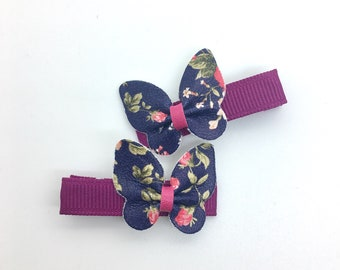 Leather Butterfly Hair Clip Floral Leather Hair Clip Girls Hair Clip Spring Hair Clip 2pcs