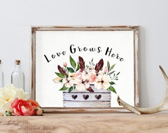 Love Grows Here, Family Wall Art, Family Decor, Wall Prints Quotes, Typography art, Art Printables, Printable Wall Art, New Family