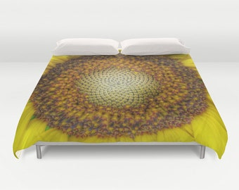 Ghost Sunflower Duvet Cover, Yellow Bedding, Bright, Happy, Unique design, Flower, Dorm bedding, Inspirational, Twin, Full, Queen, King
