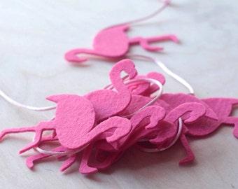 10 Felt Flamingo Garland,  Pink Felt Garland, Flamingo Nursery Décor,  Baby girl Nursery Decor, Flamingo Home Wall Decor