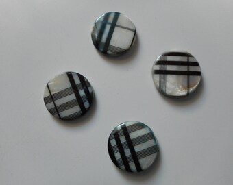 Set of 4 flat pearls in mother-of-Pearl - Plaid - medium