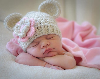Toddler Crochet Hat, Toddler Girl Crochet Hat with Ears, Hat with Flower, Oatmeal and Light Pink, 12 to 24 Months, 2-4T or 5T, Made to Order
