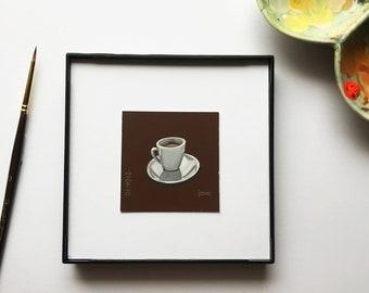 "Original miniature acrylic painting, ""Java"""