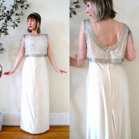vintage 60s dress ivory white beaded silk shantung low back wedding ...
