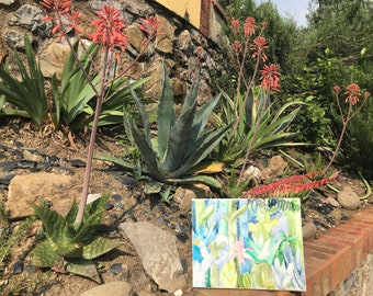 Original painting watercolor on canvas Cactus Forest No. 7