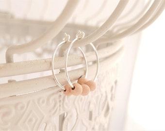 Minimalist Earrings - Rose Gold Earrings -Silver Hoop Earrings -Sterling Silver Earrings -Bridesmaid Earrings -Sparkley Rose Gold Earrings