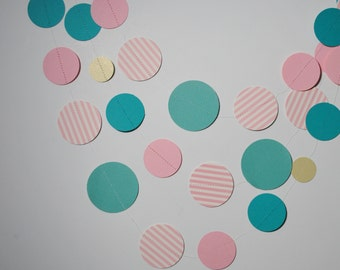 Sweet Baby Pink and Teal Paper Garland 10ft, pink garland, teal garland, teal nursery, teal and pink, vintage garland, vintage nursery