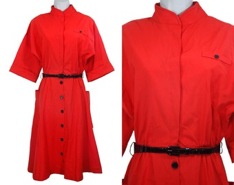 10 Dollar Sale---Vintage 80's MISS OOPS CALIFORNIA Red Dress M/L