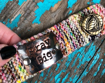 Pray Big Christian Bracelet Cuff, Hand Stamped Prayer Bracelet, Inspirational Jewelry for Women, Tattoo Cover
