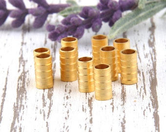 Tubular Bead Spacer with Stripes, 22k matte gold plated, 10 pcs // GB-177