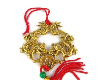 Vintage lucite Double Dragons Feng Shui Golden Chinese Coin Silk Cord  Tassel Hanger Purse Charm  Zipper Pull