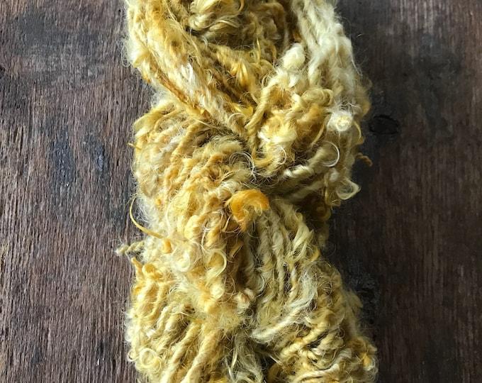 Daffodil, 20 yards handspun yarn, yellow art yarn, lockspun yarn, curly handspun yarn,