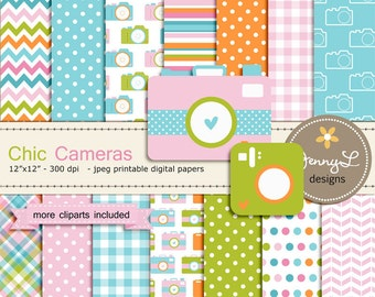 Camera Digital Paper and Clipart for Photography, Birthday Invitations, Baby Shower, Wedding and Scrapbooking Paper, Etsy Banners, Logo