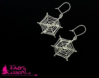 Silver Spider Web / Spiderweb Earrings - Anathema - By Faery Kisses - Halloween