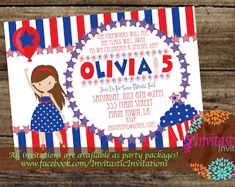 patriotic birthday invitation red wagon 4th of july red