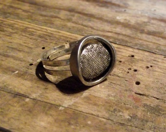 Fancy ring adjustable antique silver adjustable ring original vintage button button
