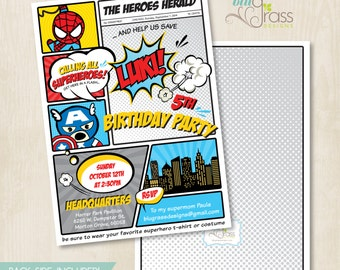 Custom Birthday Party Invitation by Mulberry Designs - Super Heroes