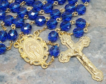 Czech Glass Rosary in Cobalt Blue and Gold, Miraculous Medal, 5 Decade Rosary, Large Size Rosary, Prayer Beads