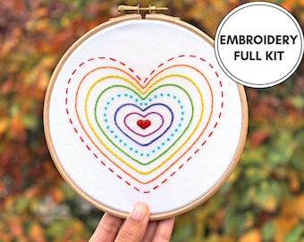 Rainbow Hearts- Hand Embroidery Kit- Beginner embroidery kit- Modern Embroidery Kit- Modern Embroidery Hoop art- Rainbow embroidery- LGBT